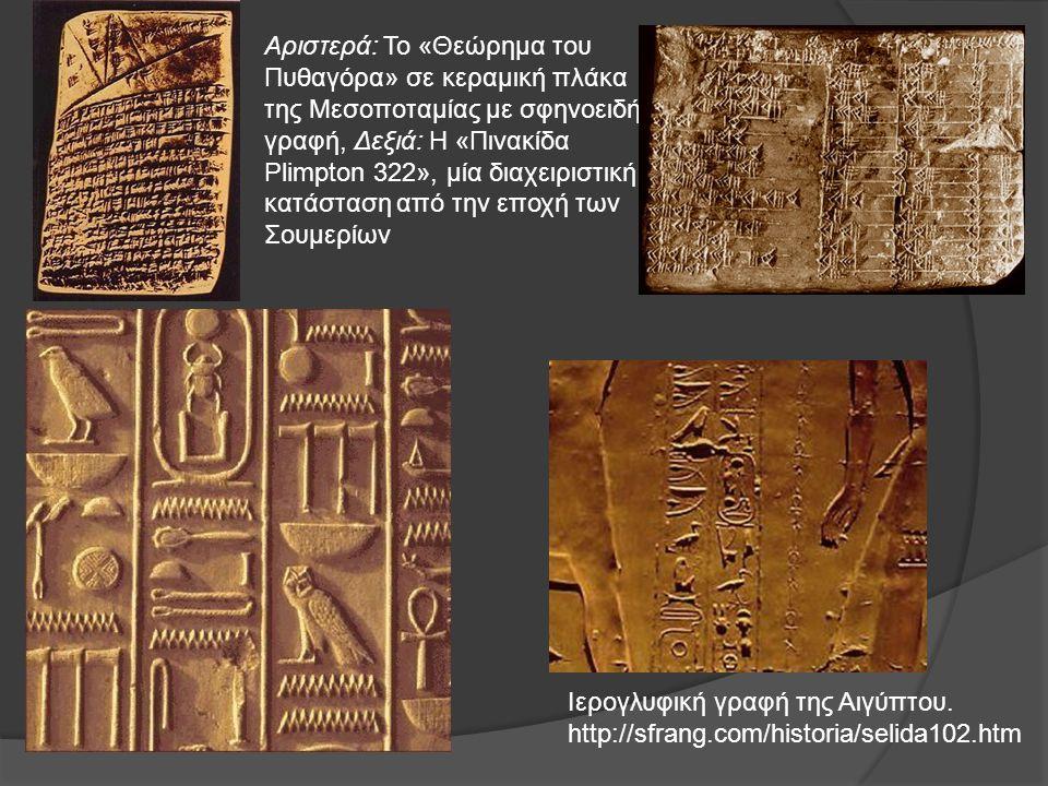 Αριστερά: Το «Θεώρημα του Πυθαγόρα» σε κεραμική πλάκα της Μεσοποταμίας με σφηνοειδή γραφή, Δεξιά: Η «Πινακίδα Plimpton 322», μία διαχειριστική κατάσταση από την εποχή των Σουμερίων