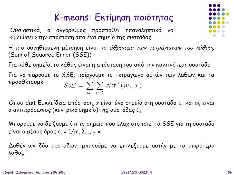 K-means: Εκτίμηση ποιότητας