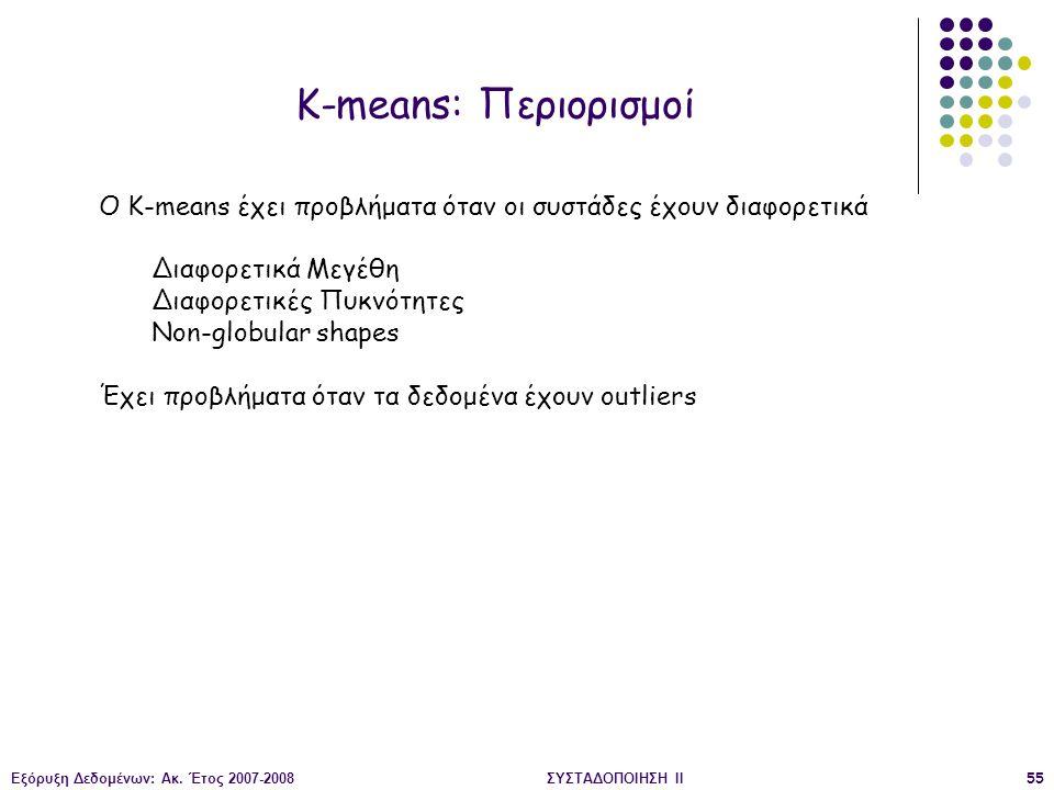 K-means: Περιορισμοί O K-means έχει προβλήματα όταν οι συστάδες έχουν διαφορετικά. Διαφορετικά Μεγέθη.