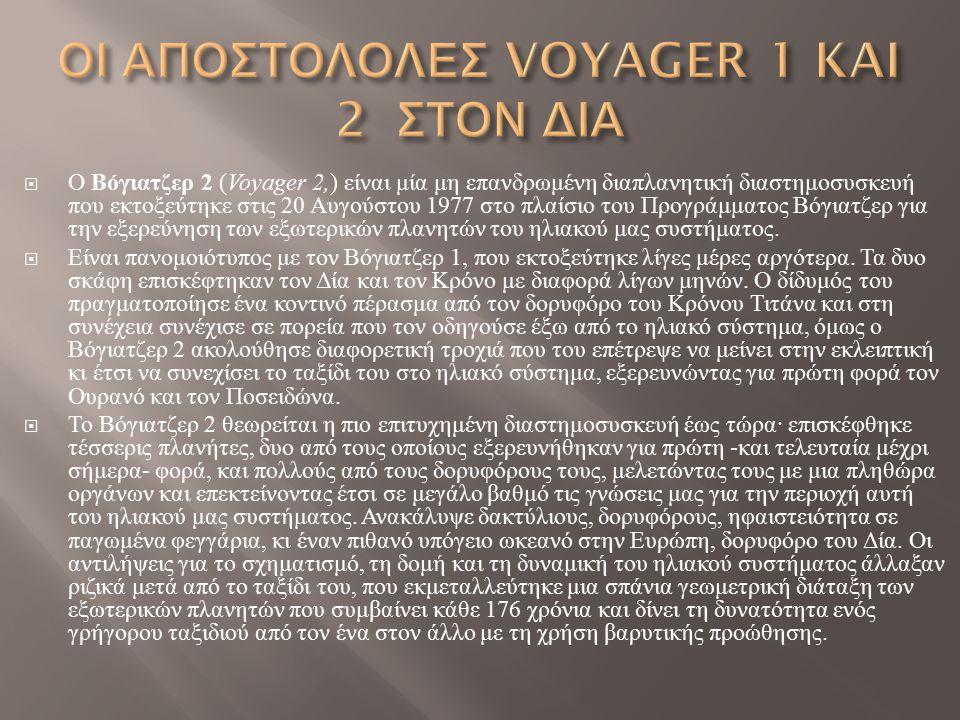 ΟΙ ΑΠΟΣΤΟΛΟΛΕΣ VOYAGER 1 KAI 2 ΣΤΟΝ ΔΙΑ