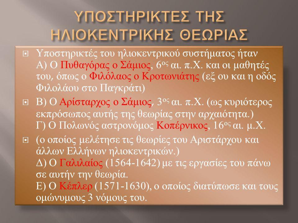 ΥΠΟΣΤΗΡΙΚΤΕΣ ΤΗΣ ΗΛΙΟΚΕΝΤΡΙΚΗΣ ΘΕΩΡΙΑΣ