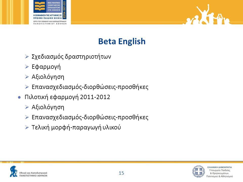 Beta English Σχεδιασμός δραστηριοτήτων Εφαρμογή Αξιολόγηση