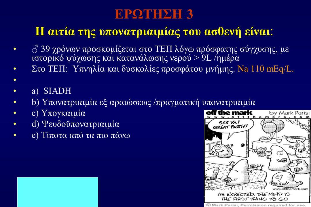 ΕΡΩΤΗΣΗ 3 Η αιτία της υπονατριαιμίας του ασθενή είναι: