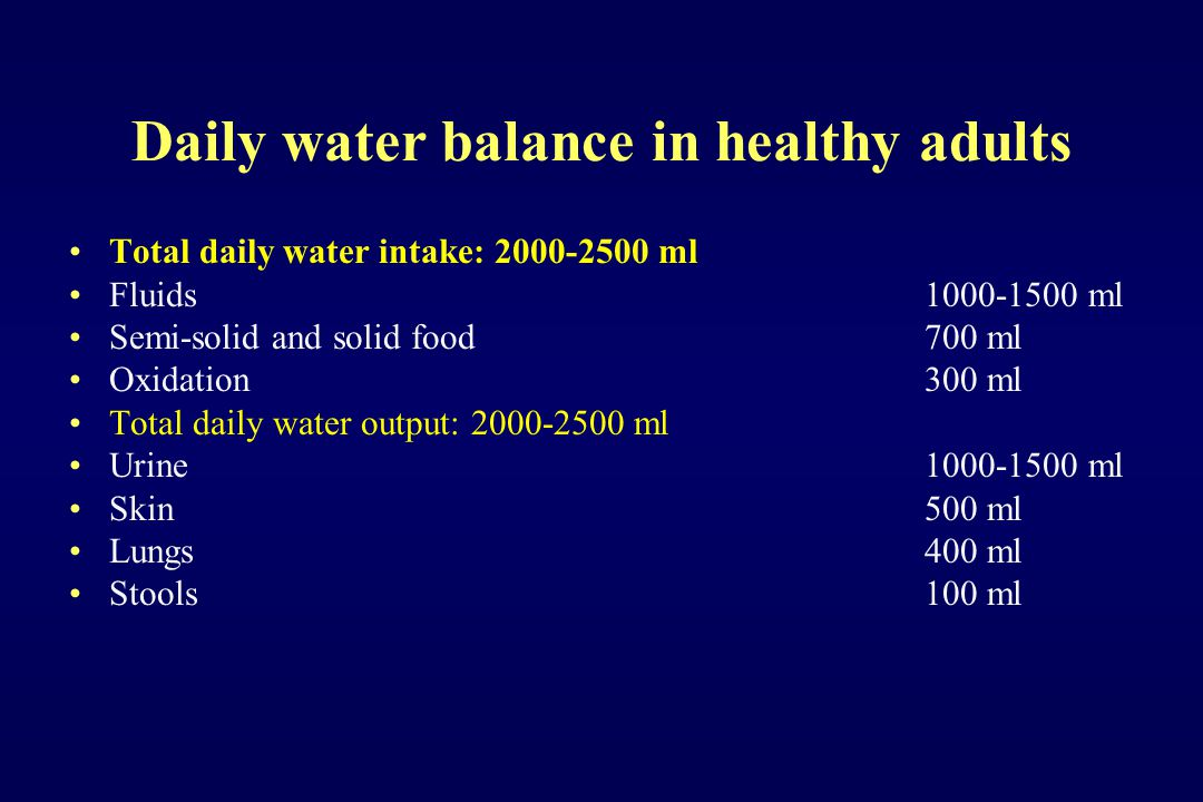 Daily water balance in healthy adults