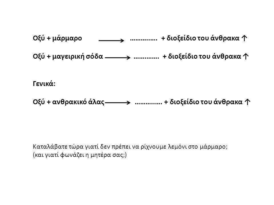 Οξύ + μάρμαρο ………..…. + διοξείδιο του άνθρακα ↑