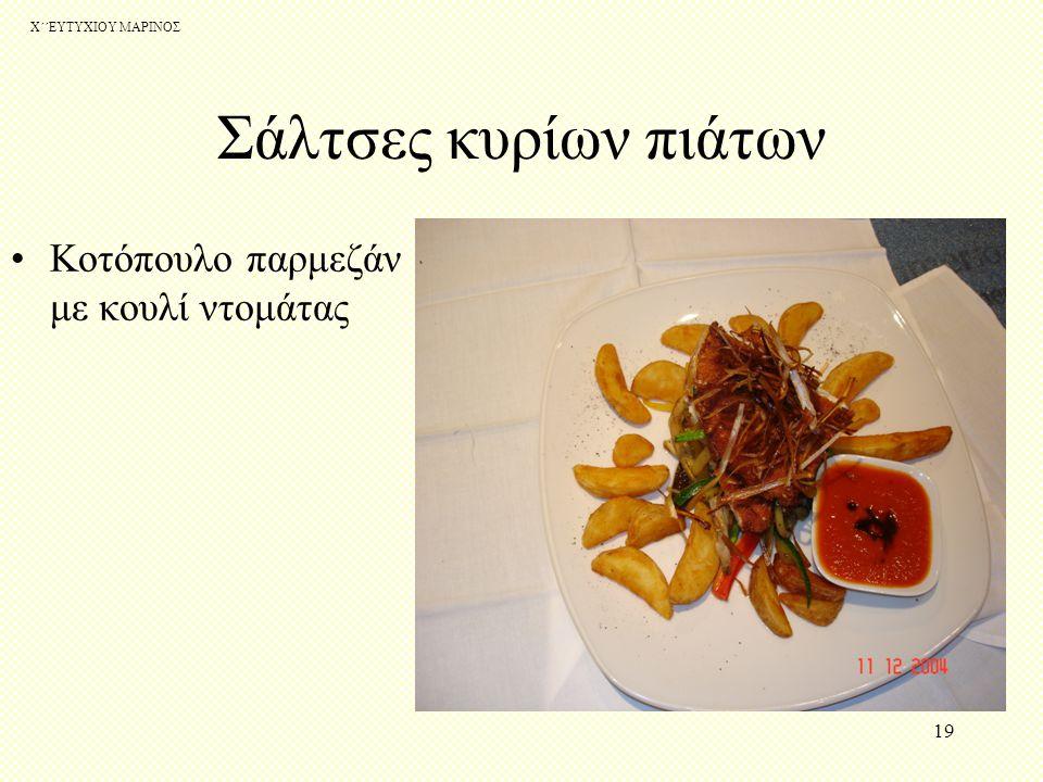 Σάλτσες κυρίων πιάτων Κοτόπουλο παρμεζάν με κουλί ντομάτας