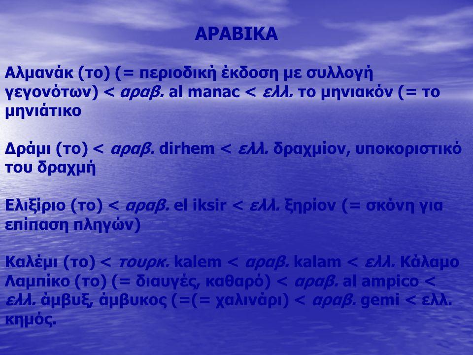 ΑΡΑΒΙΚΑ Αλμανάκ (το) (= περιοδική έκδοση με συλλογή γεγονότων) < αραβ. al manac < ελλ. το μηνιακόν (= το μηνιάτικο.