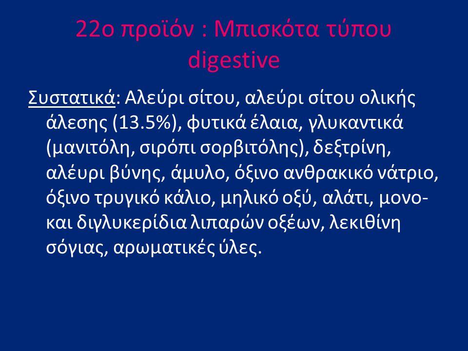 22o προϊόν : Mπισκότα τύπου digestive