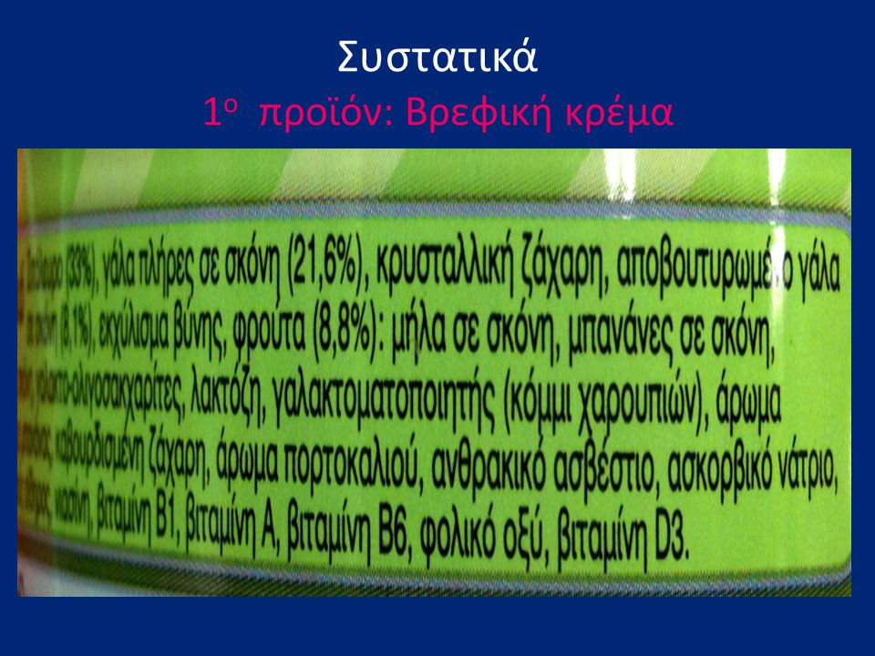 Συστατικά 1ο προϊόν: Βρεφική κρέμα