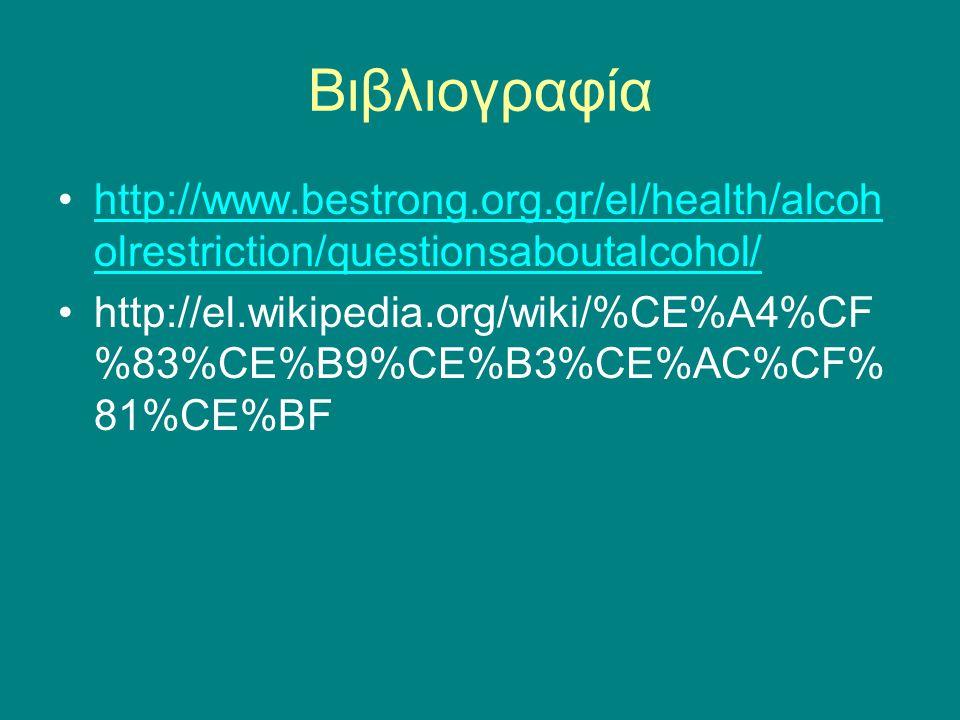 Βιβλιογραφία http://www.bestrong.org.gr/el/health/alcoholrestriction/questionsaboutalcohol/