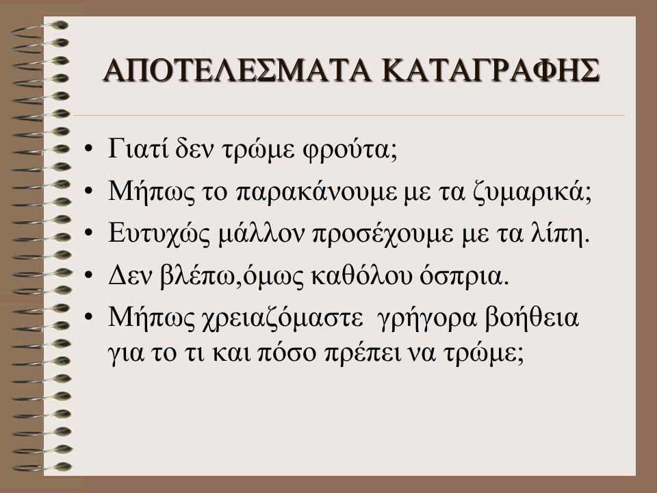 ΑΠΟΤΕΛΕΣΜΑΤΑ ΚΑΤΑΓΡΑΦΗΣ