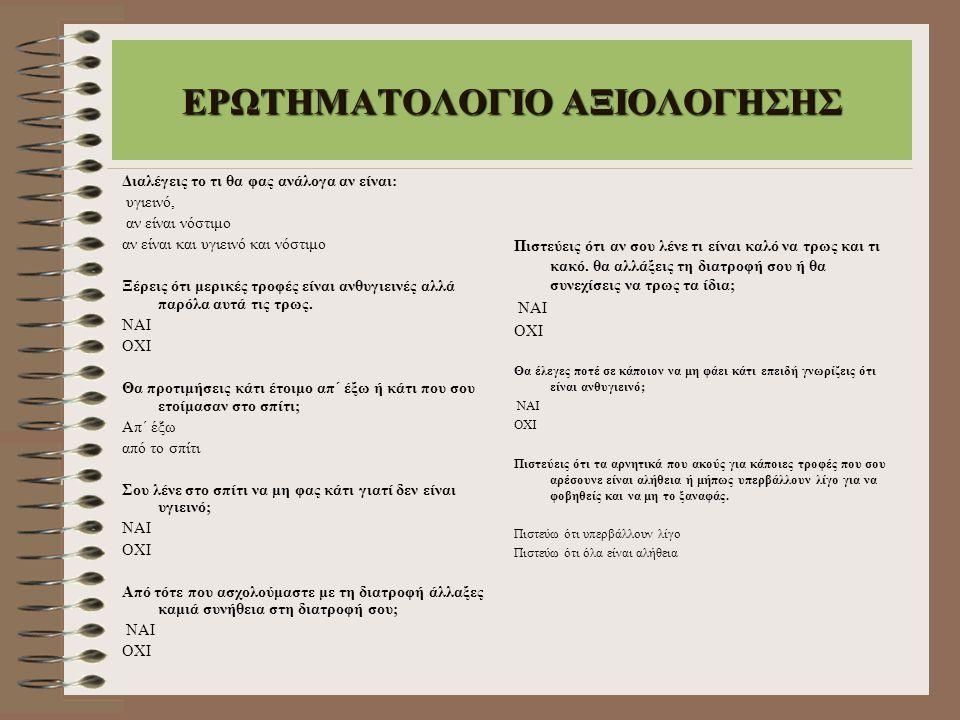 ΕΡΩΤΗΜΑΤΟΛΟΓΙΟ ΑΞΙΟΛΟΓΗΣΗΣ