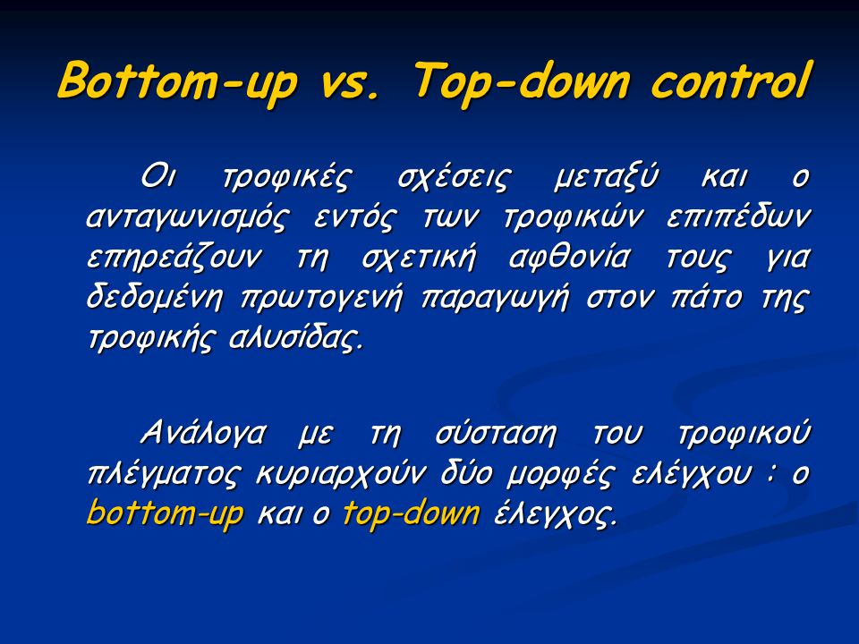 Bottom-up vs. Top-down control