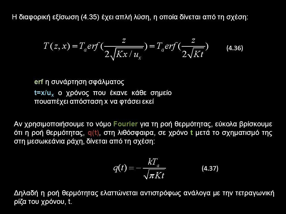 Η διαφορική εξίσωση (4.35) έχει απλή λύση, η οποία δίνεται από τη σχέση:
