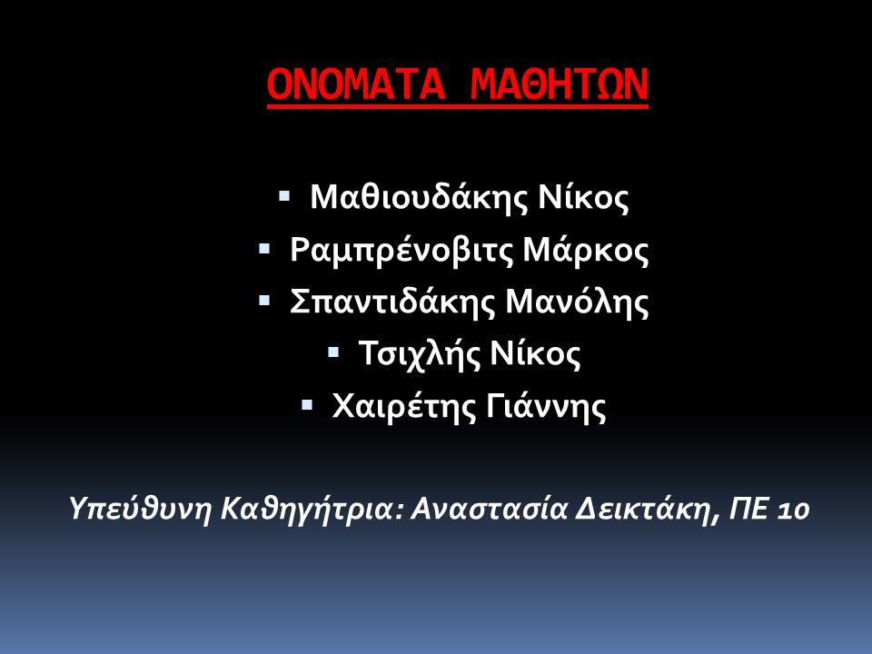 ΟΝΟΜΑΤΑ ΜΑΘΗΤΩΝ Μαθιουδάκης Νίκος Ραμπρένοβιτς Μάρκος
