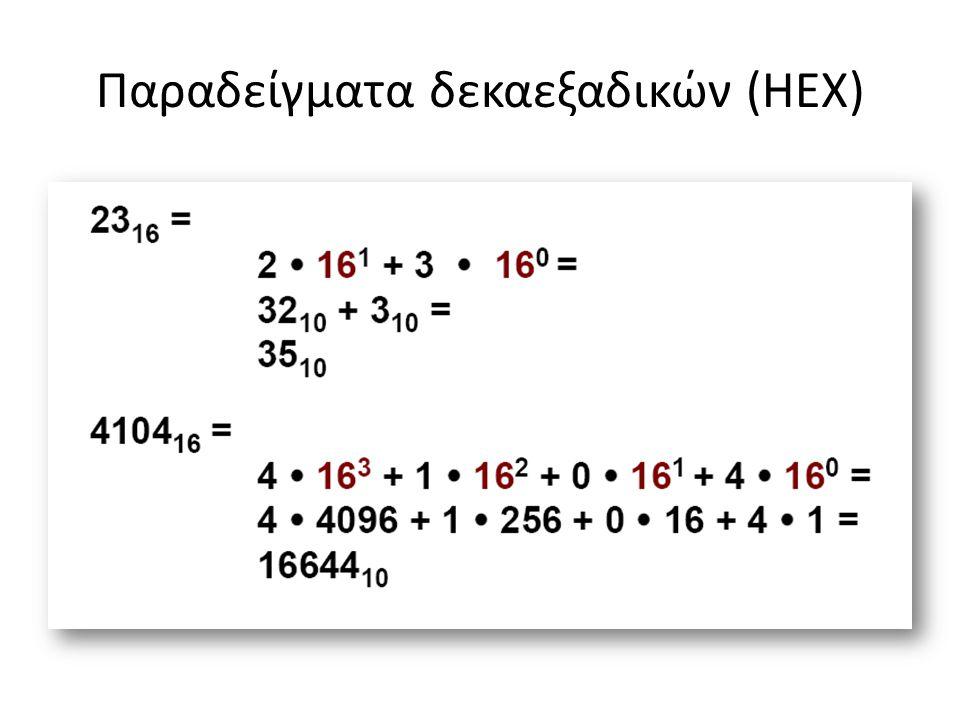 Παραδείγματα δεκαεξαδικών (HEX)