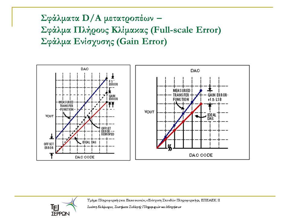 Σφάλματα D/A μετατροπέων – Σφάλμα Πλήρους Κλίμακας (Full-scale Error) Σφάλμα Ενίσχυσης (Gain Error)