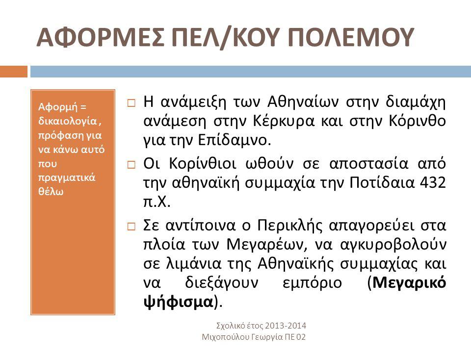 ΑΦΟΡΜΕΣ ΠΕΛ/ΚΟΥ ΠΟΛΕΜΟΥ