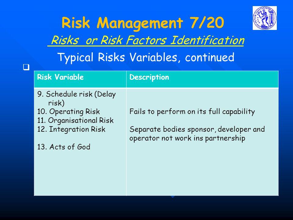 Risks or Risk Factors Identification