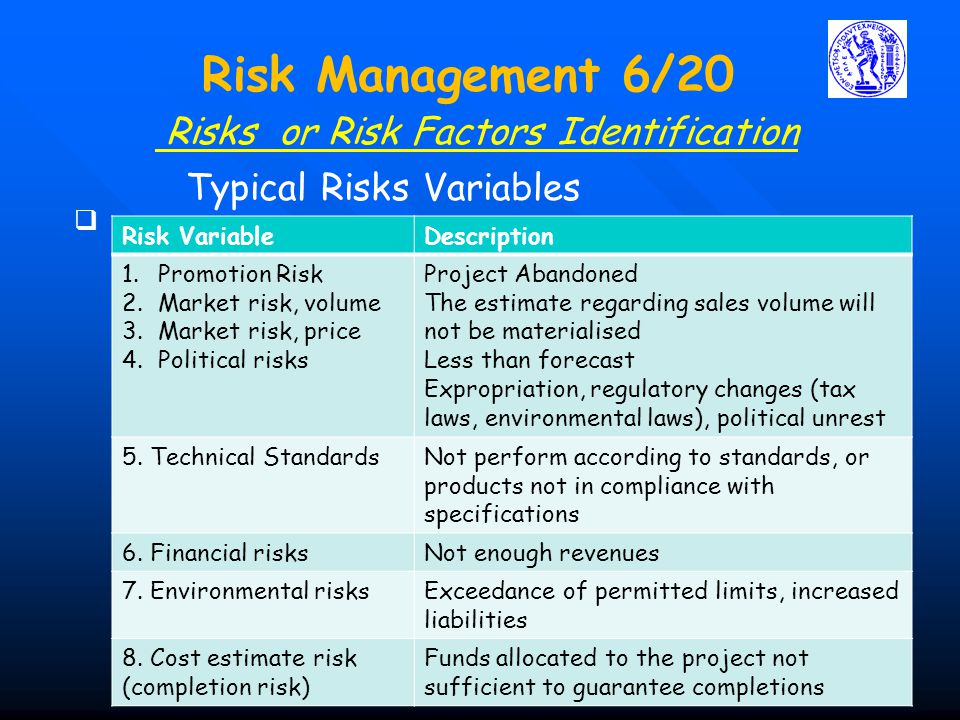 Risks or Risk Factors Identification