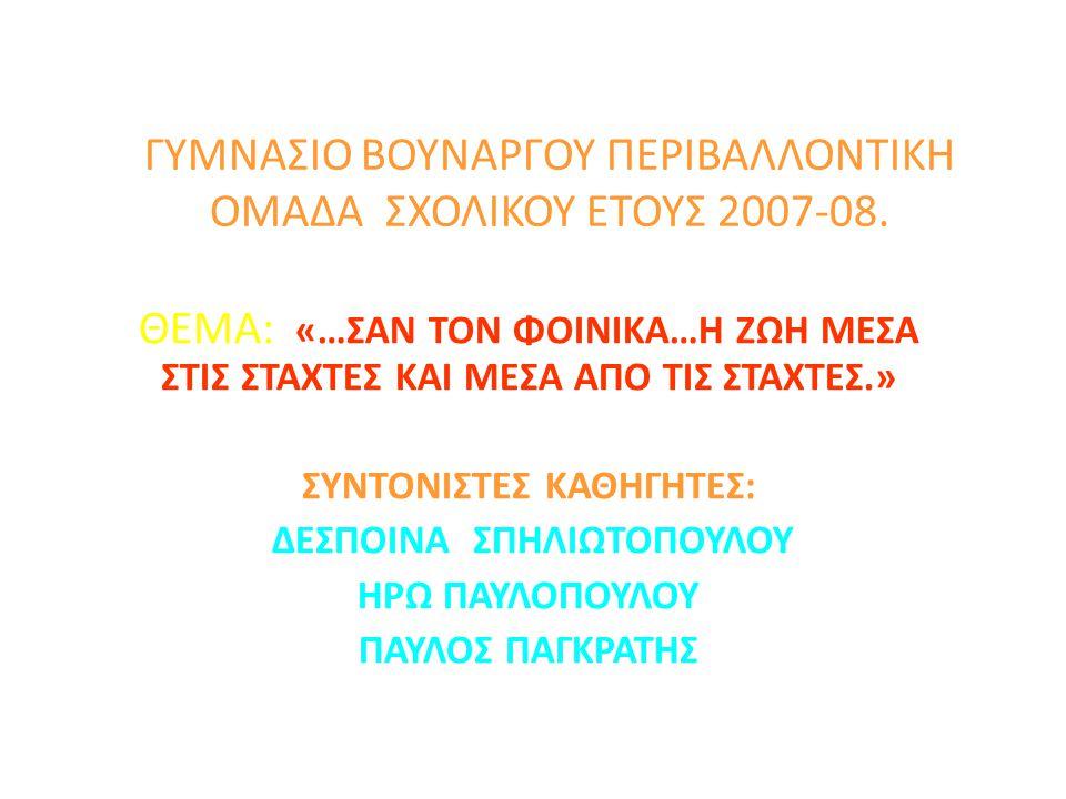 ΓΥΜΝΑΣΙΟ ΒΟΥΝΑΡΓΟΥ ΠΕΡΙΒΑΛΛΟΝΤΙΚΗ ΟΜΑΔΑ ΣΧΟΛΙΚΟΥ ΕΤΟΥΣ 2007-08.
