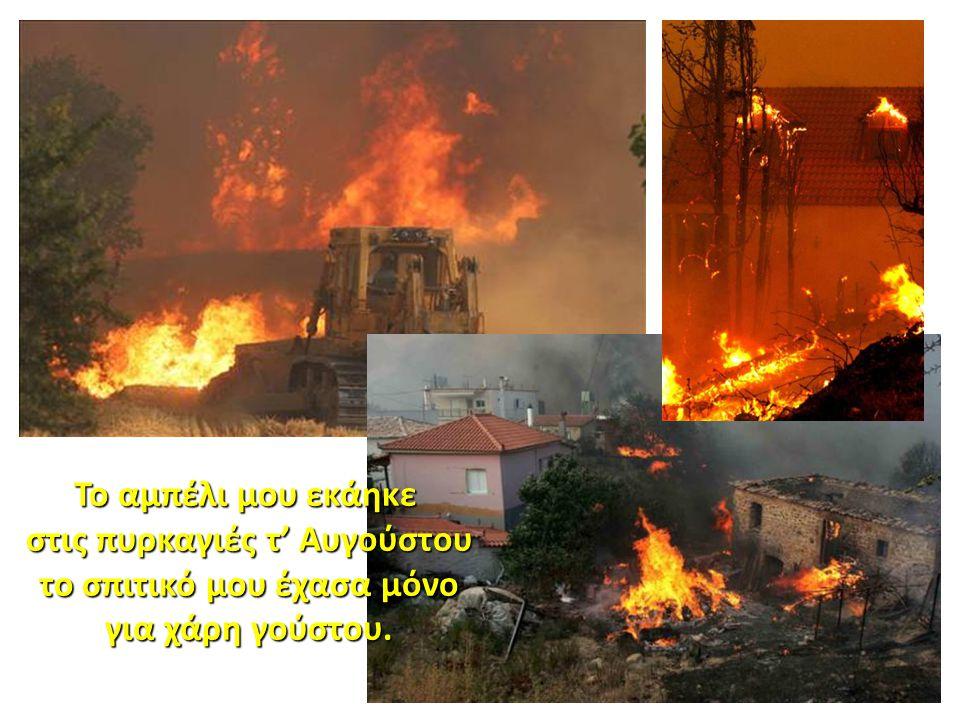 στις πυρκαγιές τ' Αυγούστου το σπιτικό μου έχασα μόνο