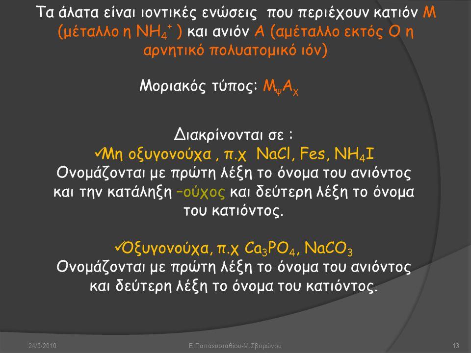 Μη οξυγονούχα , π.χ ΝaCl, Fes, NH4I