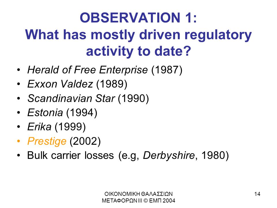 OBSERVATION 1: What has mostly driven regulatory activity to date