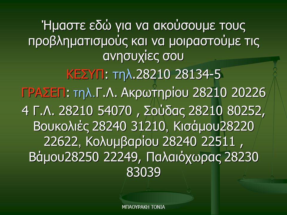 Ήμαστε εδώ για να ακούσουμε τους προβληματισμούς και να μοιραστούμε τις ανησυχίες σου ΚΕΣΥΠ: τηλ.28210 28134-5 ΓΡΑΣΕΠ: τηλ.Γ.Λ. Ακρωτηρίου 28210 20226 4 Γ.Λ. 28210 54070 , Σούδας 28210 80252, Βουκολιές 28240 31210, Κισάμου28220 22622, Κολυμβαρίου 28240 22511 , Βάμου28250 22249, Παλαιόχωρας 28230 83039