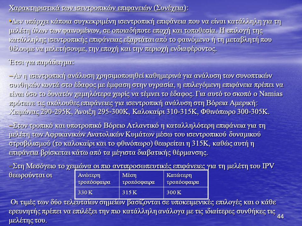 Χαρακτηριστικά των ισεντροπικών επιφανειών (Συνέχεια):