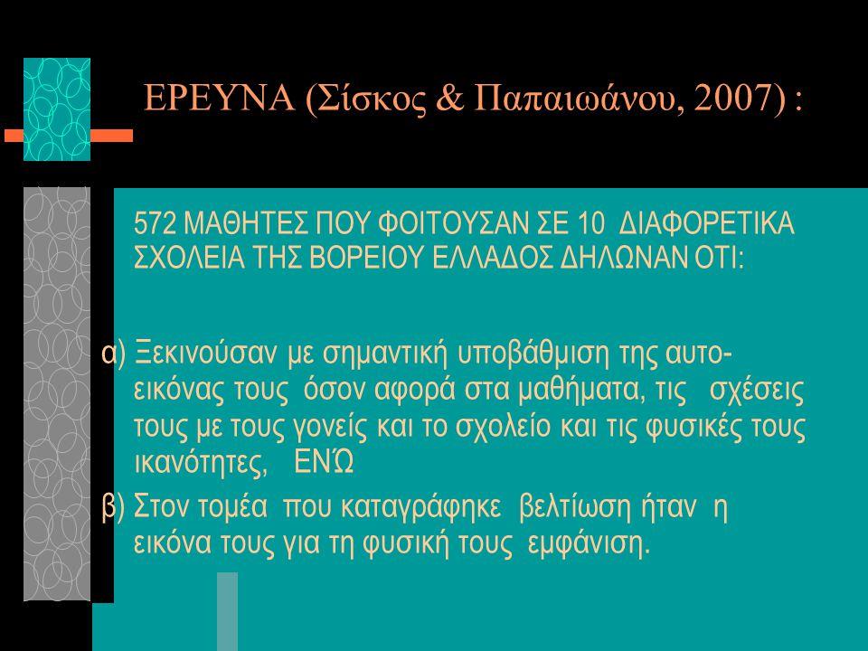 ΕΡΕΥΝΑ (Σίσκος & Παπαιωάνου, 2007) :