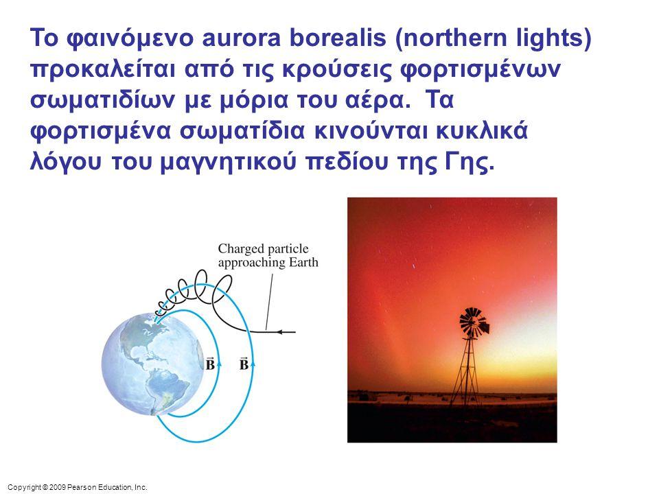 Το φαινόμενο aurora borealis (northern lights) προκαλείται από τις κρούσεις φορτισμένων σωματιδίων με μόρια του αέρα. Τα φορτισμένα σωματίδια κινούνται κυκλικά λόγου του μαγνητικού πεδίου της Γης.
