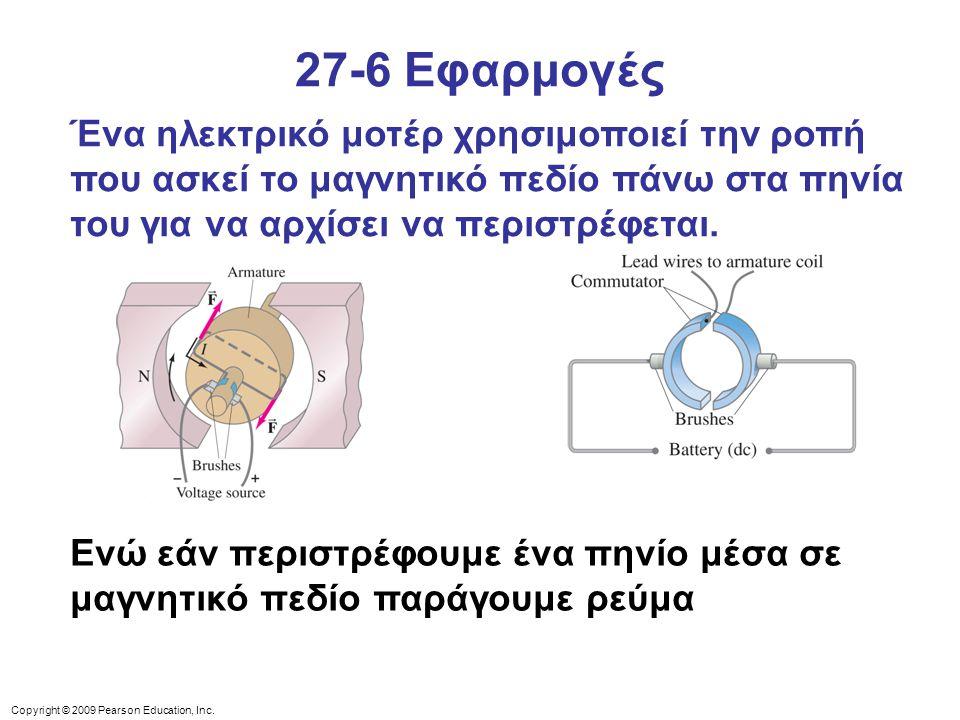 27-6 Εφαρμογές Ένα ηλεκτρικό μοτέρ χρησιμοποιεί την ροπή που ασκεί το μαγνητικό πεδίο πάνω στα πηνία του για να αρχίσει να περιστρέφεται.