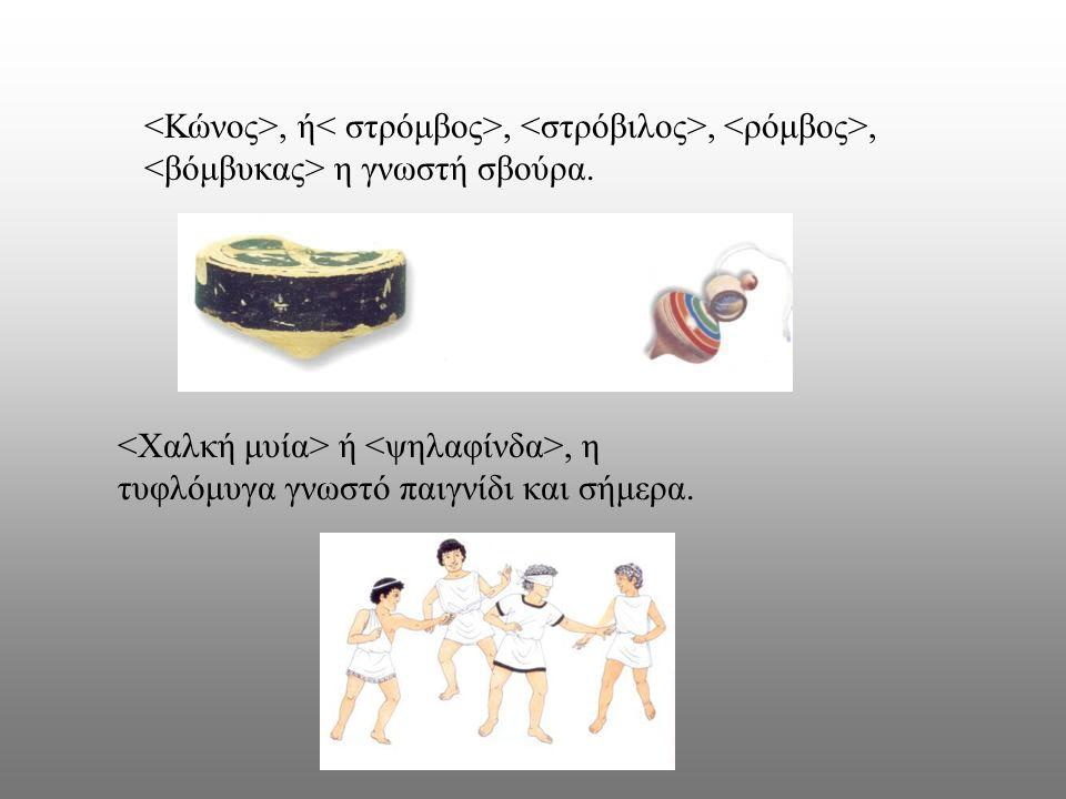 <Κώνος>, ή< στρόμβος>, <στρόβιλος>, <ρόμβος>, <βόμβυκας> η γνωστή σβούρα.