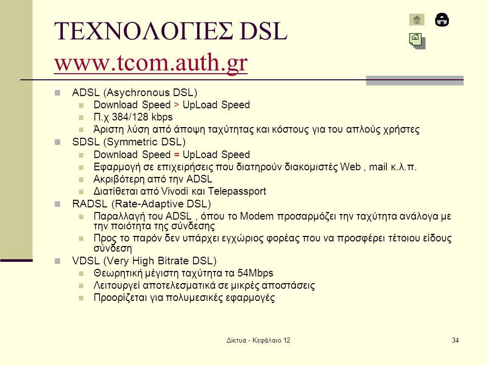 ΤΕΧΝΟΛΟΓΙΕΣ DSL www.tcom.auth.gr