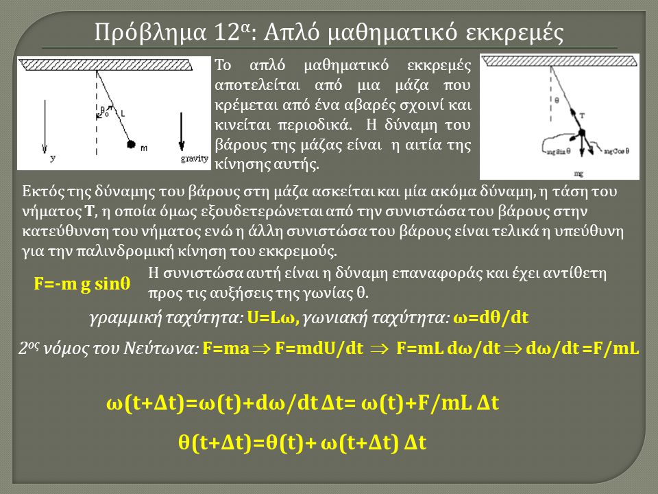 ω(t+Δt)=ω(t)+dω/dt Δt= ω(t)+F/mL Δt θ(t+Δt)=θ(t)+ ω(t+Δt) Δt