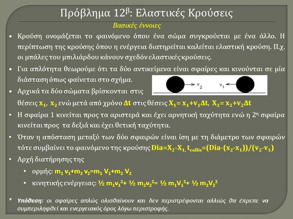 Πρόβλημα 12β: Ελαστικές Κρούσεις