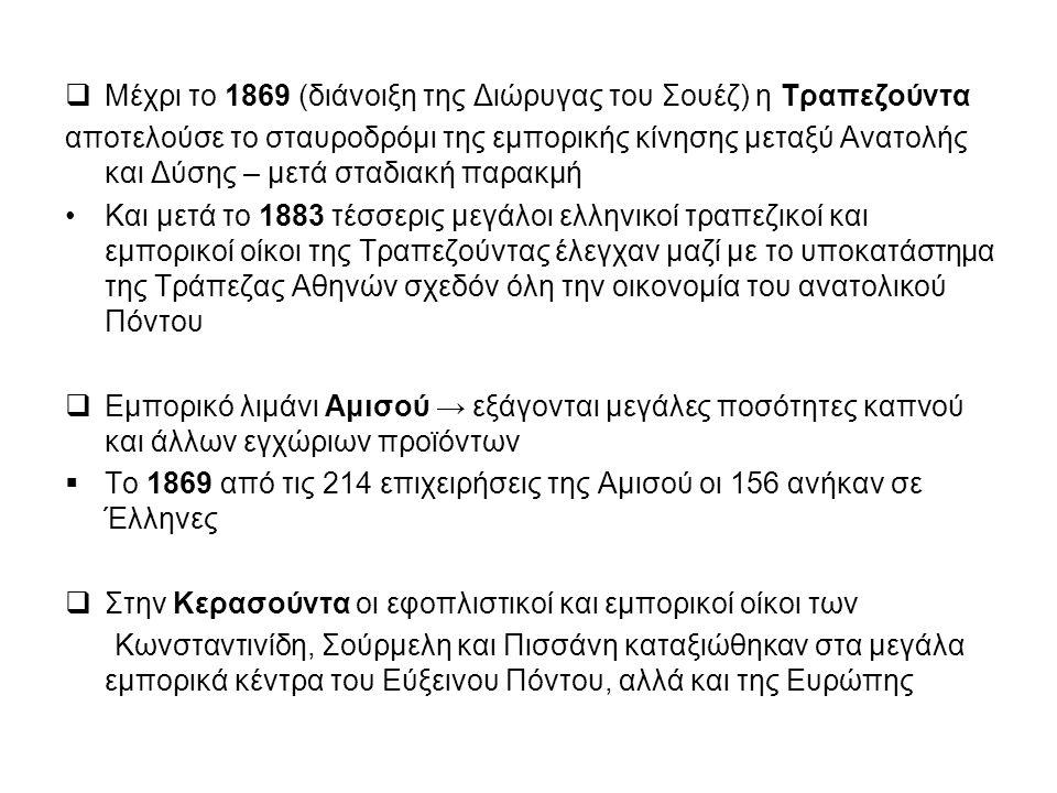 Μέχρι το 1869 (διάνοιξη της Διώρυγας του Σουέζ) η Τραπεζούντα