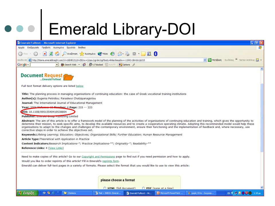 Emerald Library-DOI