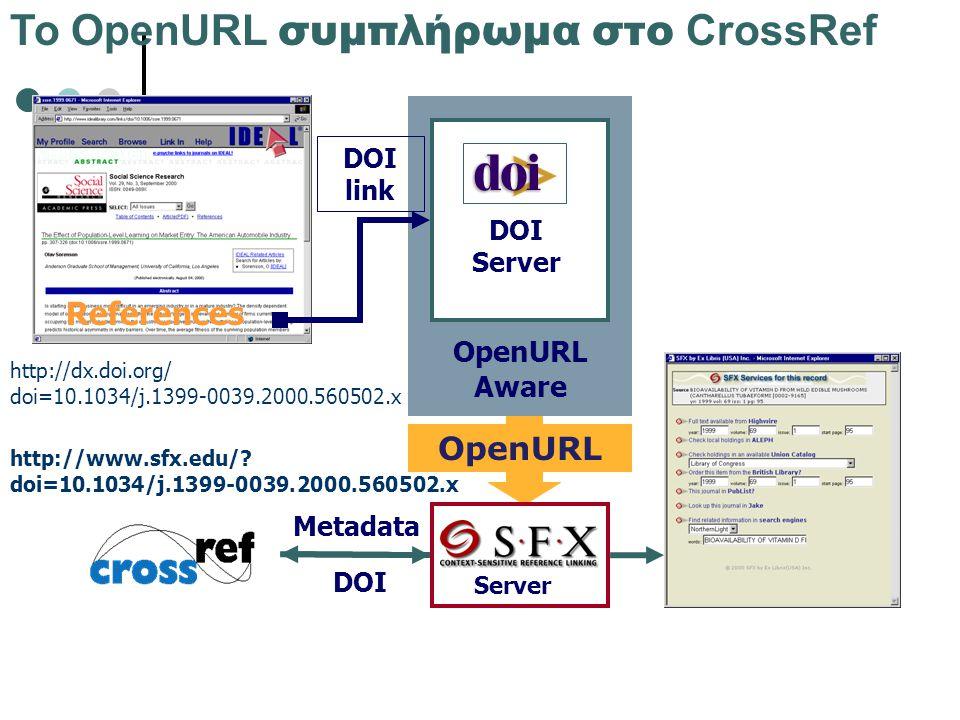 Το OpenURL συμπλήρωμα στο CrossRef