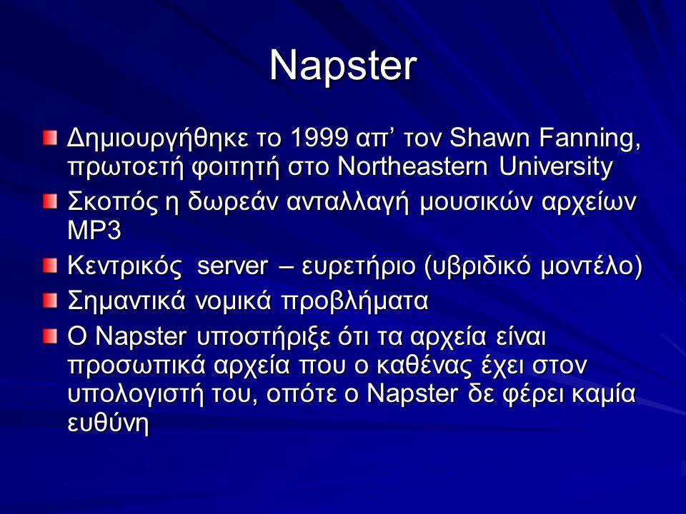 Napster Δημιουργήθηκε το 1999 απ' τον Shawn Fanning, πρωτοετή φοιτητή στο Northeastern University. Σκοπός η δωρεάν ανταλλαγή μουσικών αρχείων MP3.