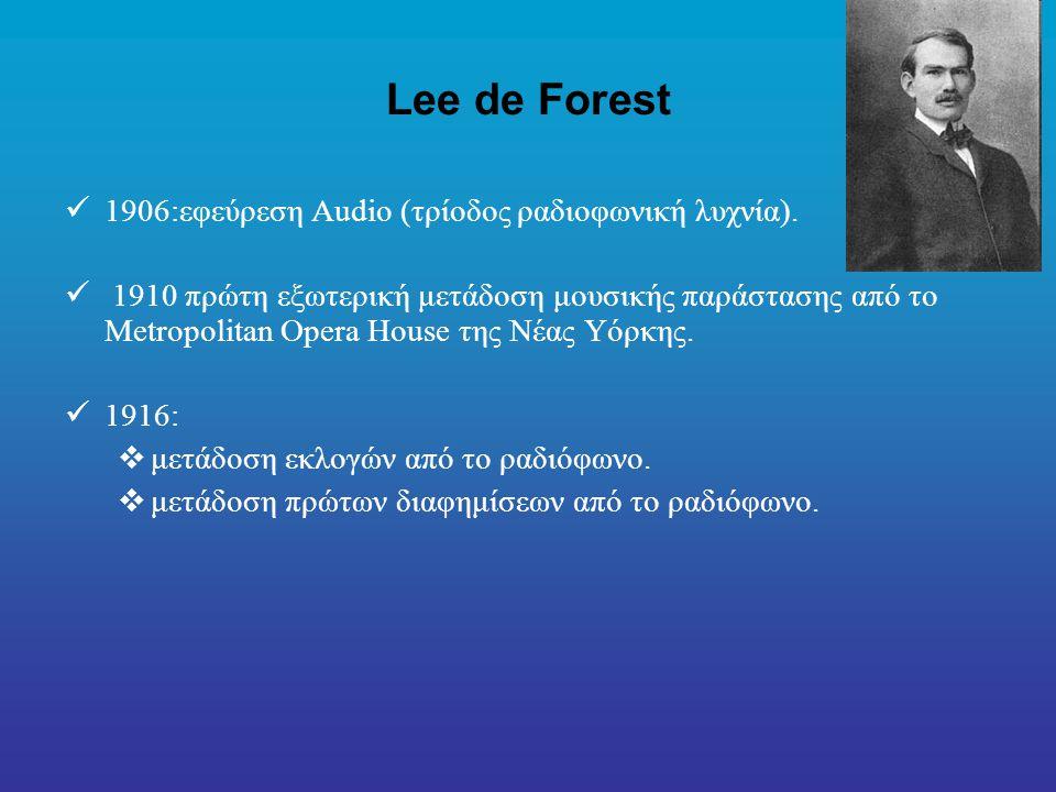 Lee de Forest 1906:εφεύρεση Audio (τρίοδος ραδιοφωνική λυχνία).