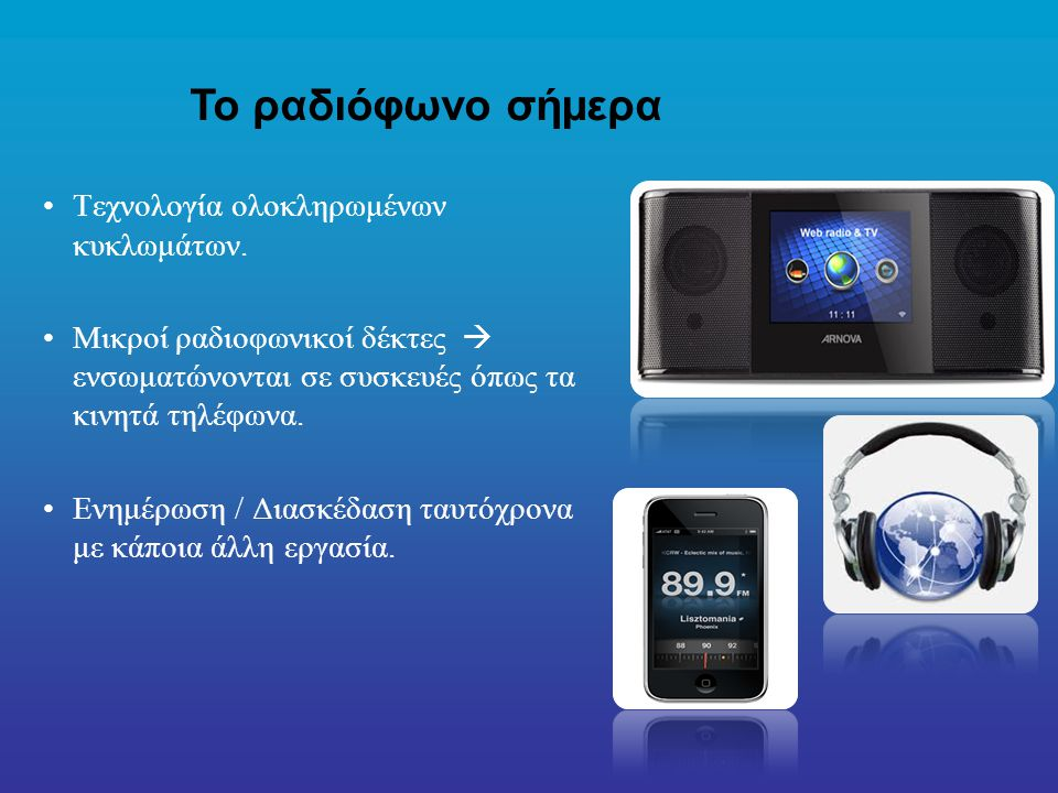 Το ραδιόφωνο σήμερα Τεχνολογία ολοκληρωμένων κυκλωμάτων.