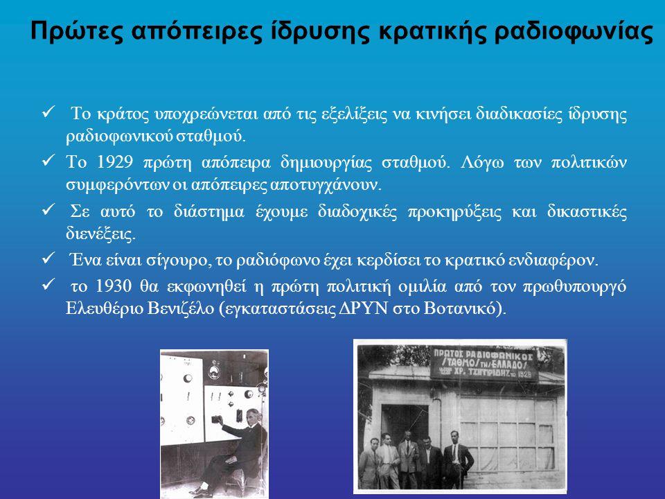 Πρώτες απόπειρες ίδρυσης κρατικής ραδιοφωνίας