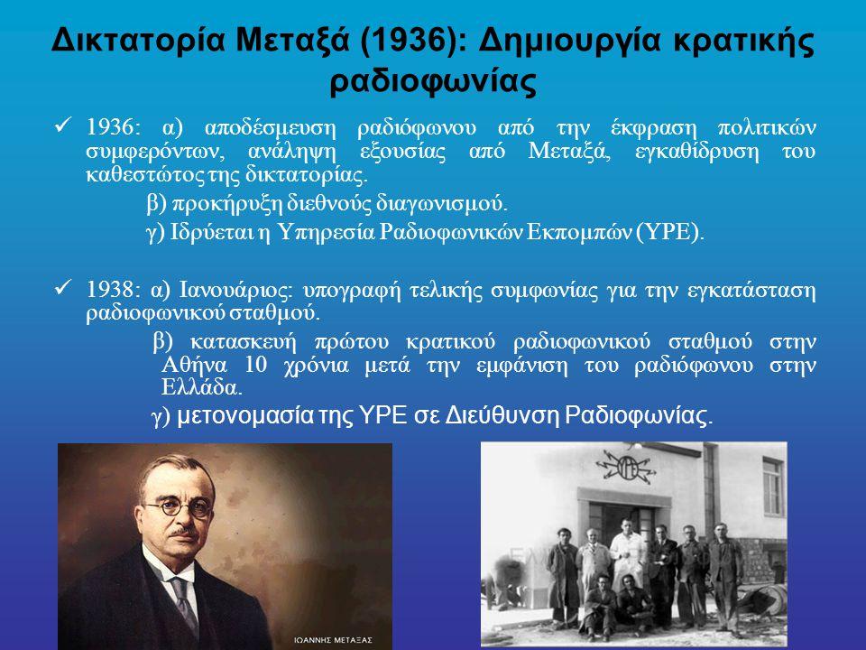 Δικτατορία Μεταξά (1936): Δημιουργία κρατικής ραδιοφωνίας
