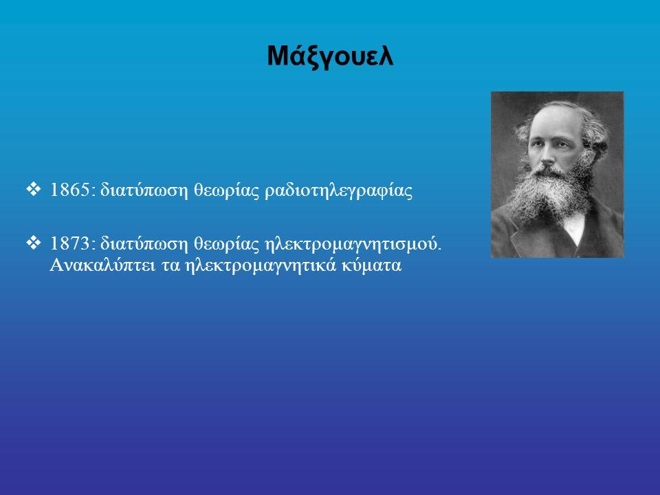 Μάξγουελ 1865: διατύπωση θεωρίας ραδιοτηλεγραφίας