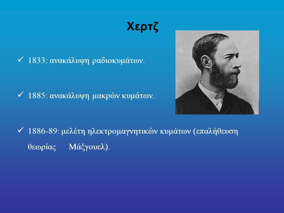 Χερτζ 1833: ανακάλυψη ραδιοκυμάτων. 1885: ανακάλυψη μακρών κυμάτων.