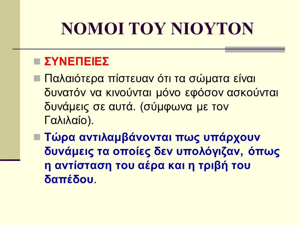 NOMOI TOY NIOYTON ΣΥΝΕΠΕΙΕΣ