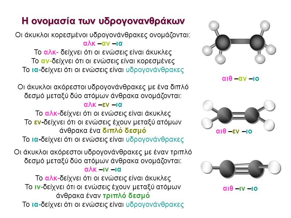 Η ονομασία των υδρογονανθράκων