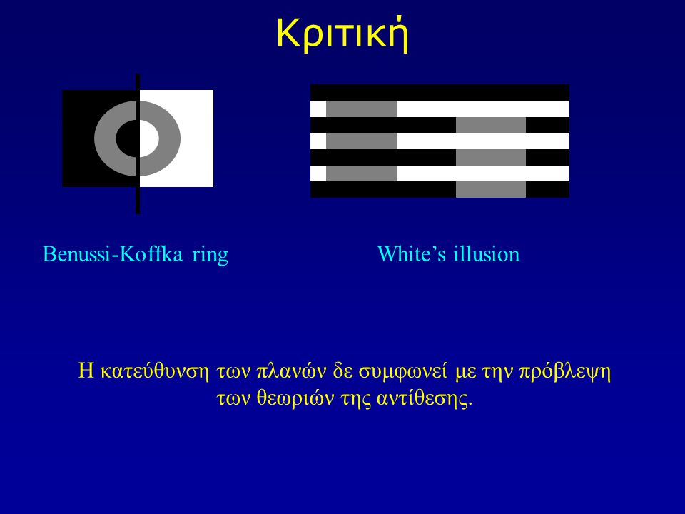 Κριτική Benussi-Koffka ring White's illusion